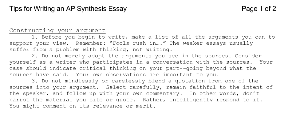 Synthesis essay outline example